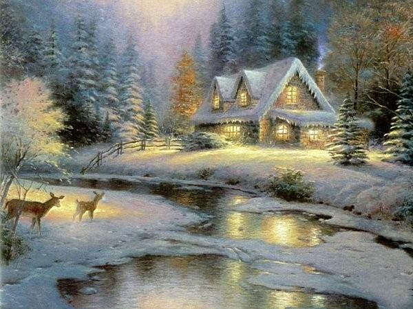 Petite maison sous la neige - Source sous la maison ...